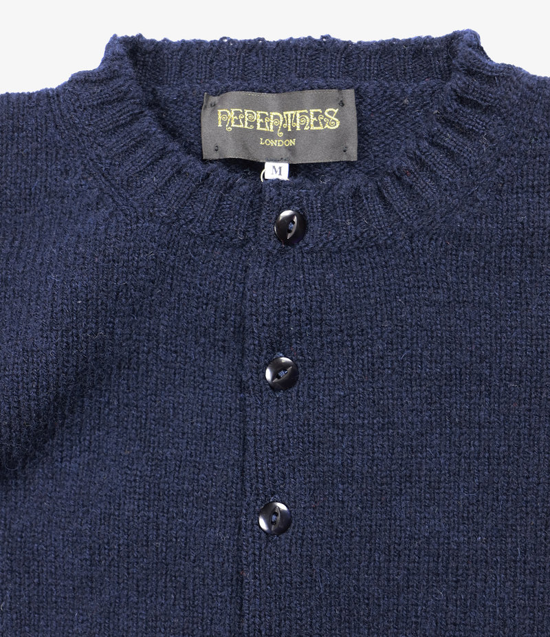Nepenthes London Fisherman Pocket Crew Cardigan - SS - Navy