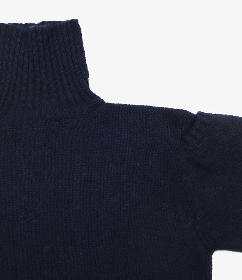 Nepenthes London Fisherman Pocket Polo Sweater - LS - Navy