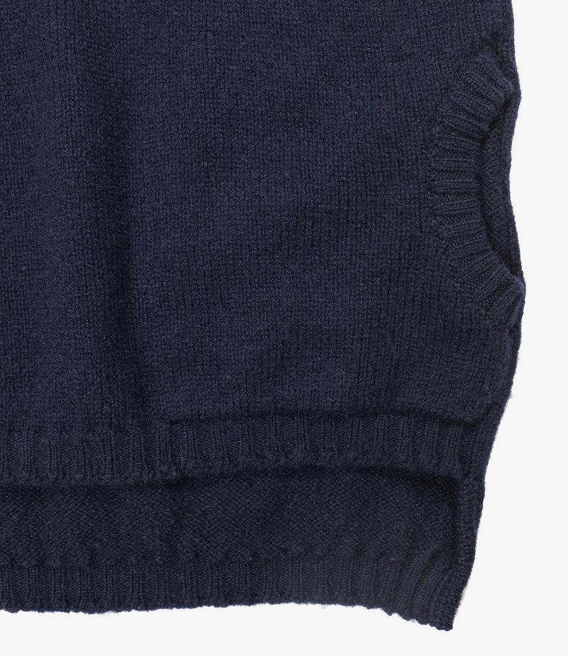 Nepenthes London Fisherman Pocket Polo Sweater - SS - Navy