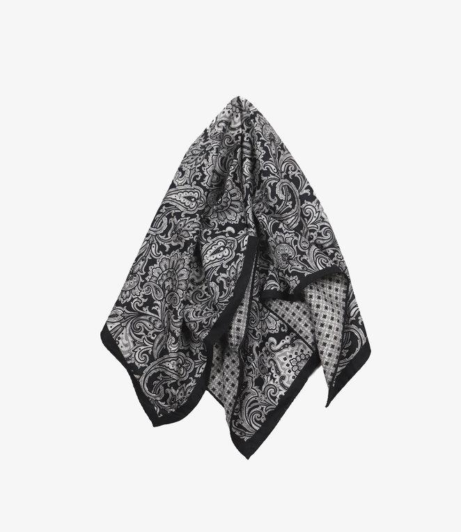 Engineered Garments Neckerchief - Silver/Navy Silk Paisley