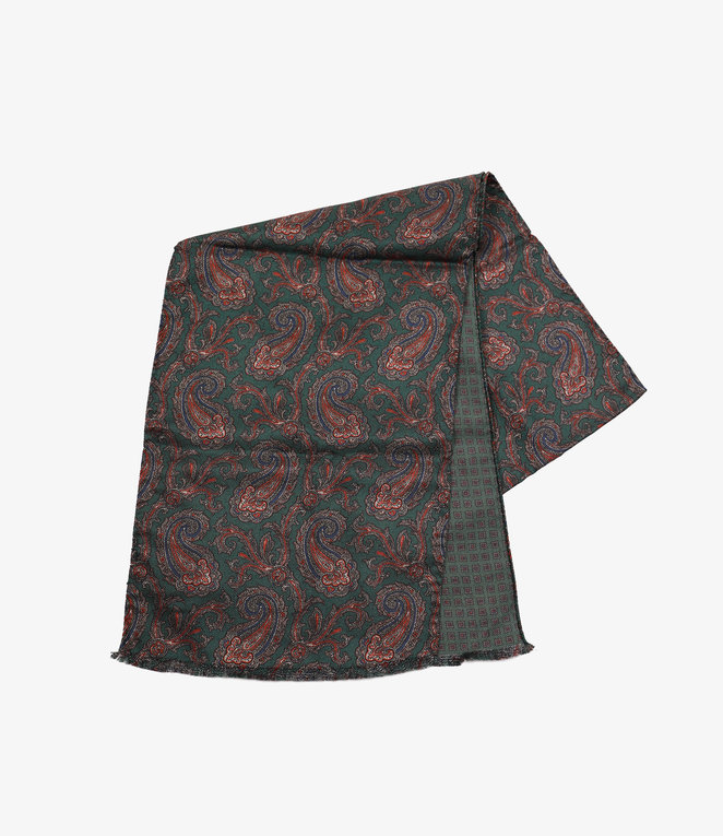 Engineered Garments Dress Scarf - Green Doublesided Silk Paisley