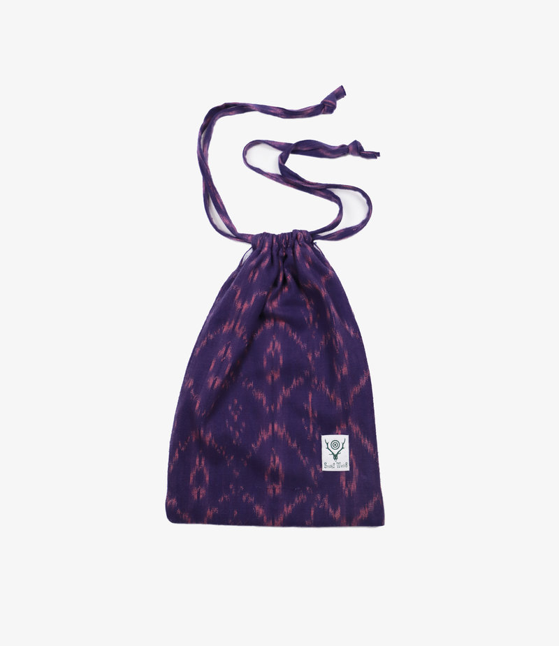 South2 West8 String Bag - Ikat Pattern - Purple