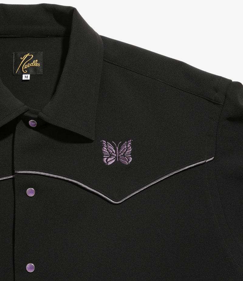 Needles Piping Cowboy Jacket - Pe/Pu Double Cloth - Black