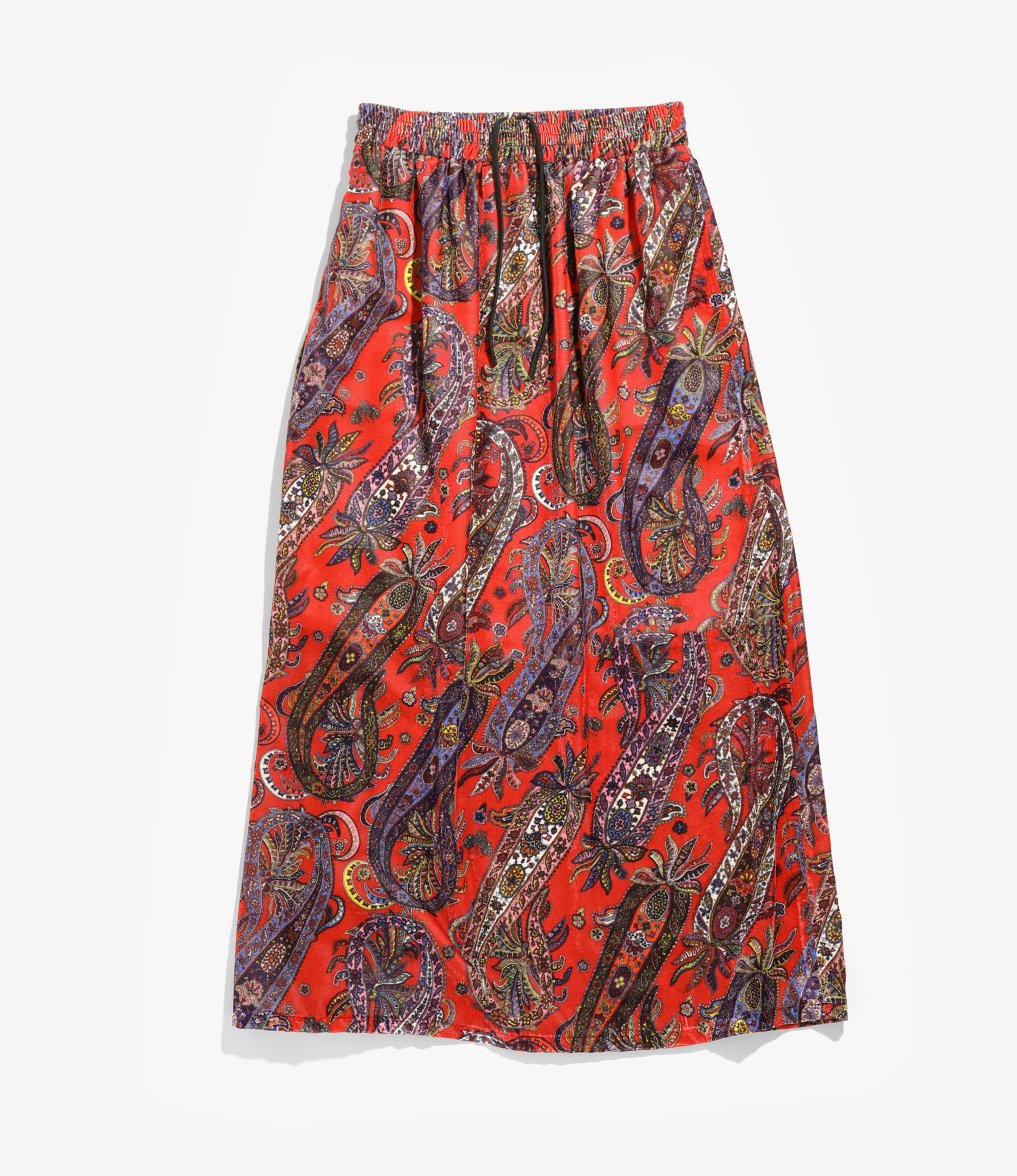 Needles Gathered Skirt - R/Pe Velvet / Pt. - Paisley