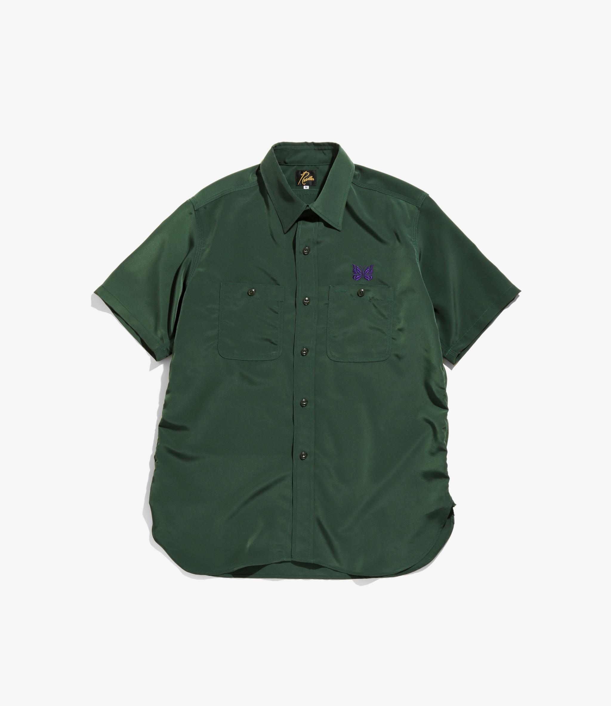 Needles Short Sleeve Work Shirt - Poly Cloth - Green