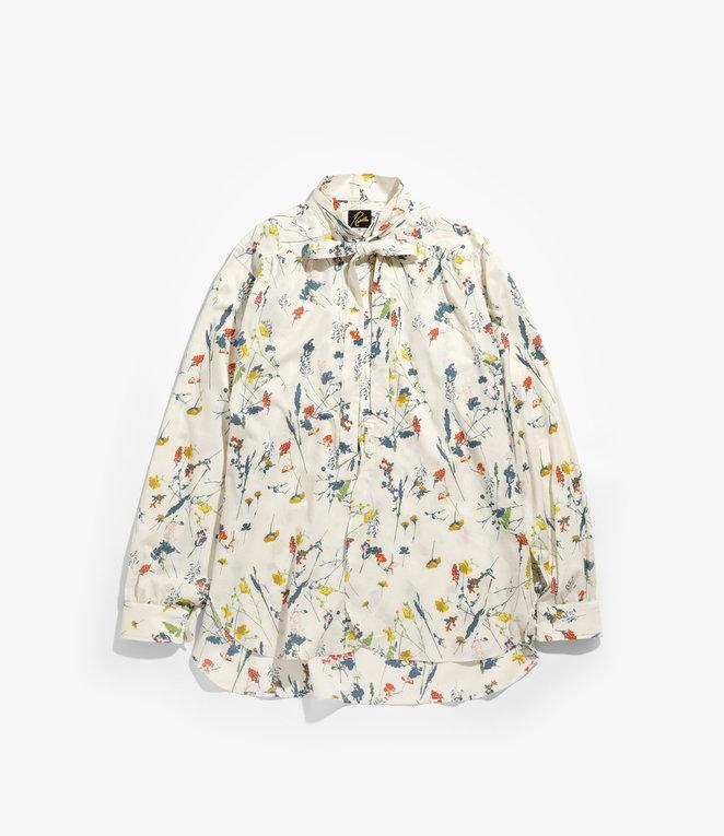 Needles Ascot Collar EDW Shirt - Flower Pt. - Beige