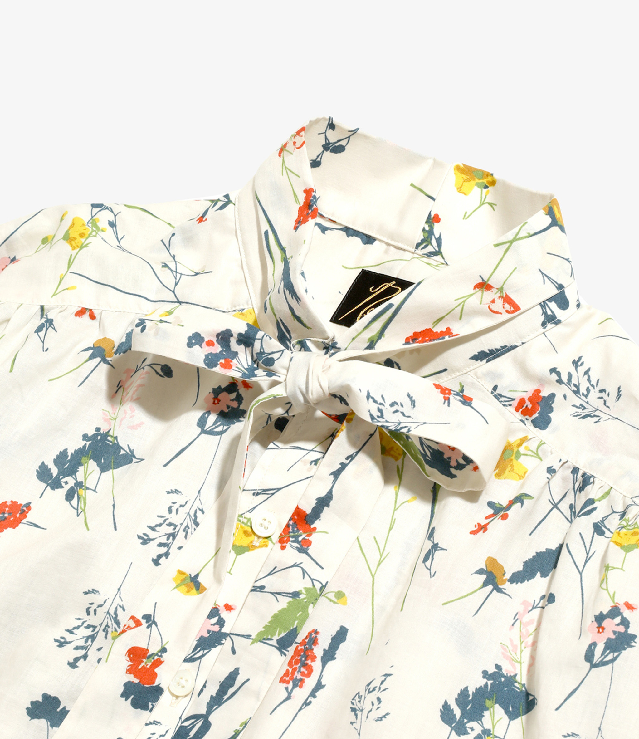 Needles Ascot Collar EDW Shirt - Flower Pt. - Beige