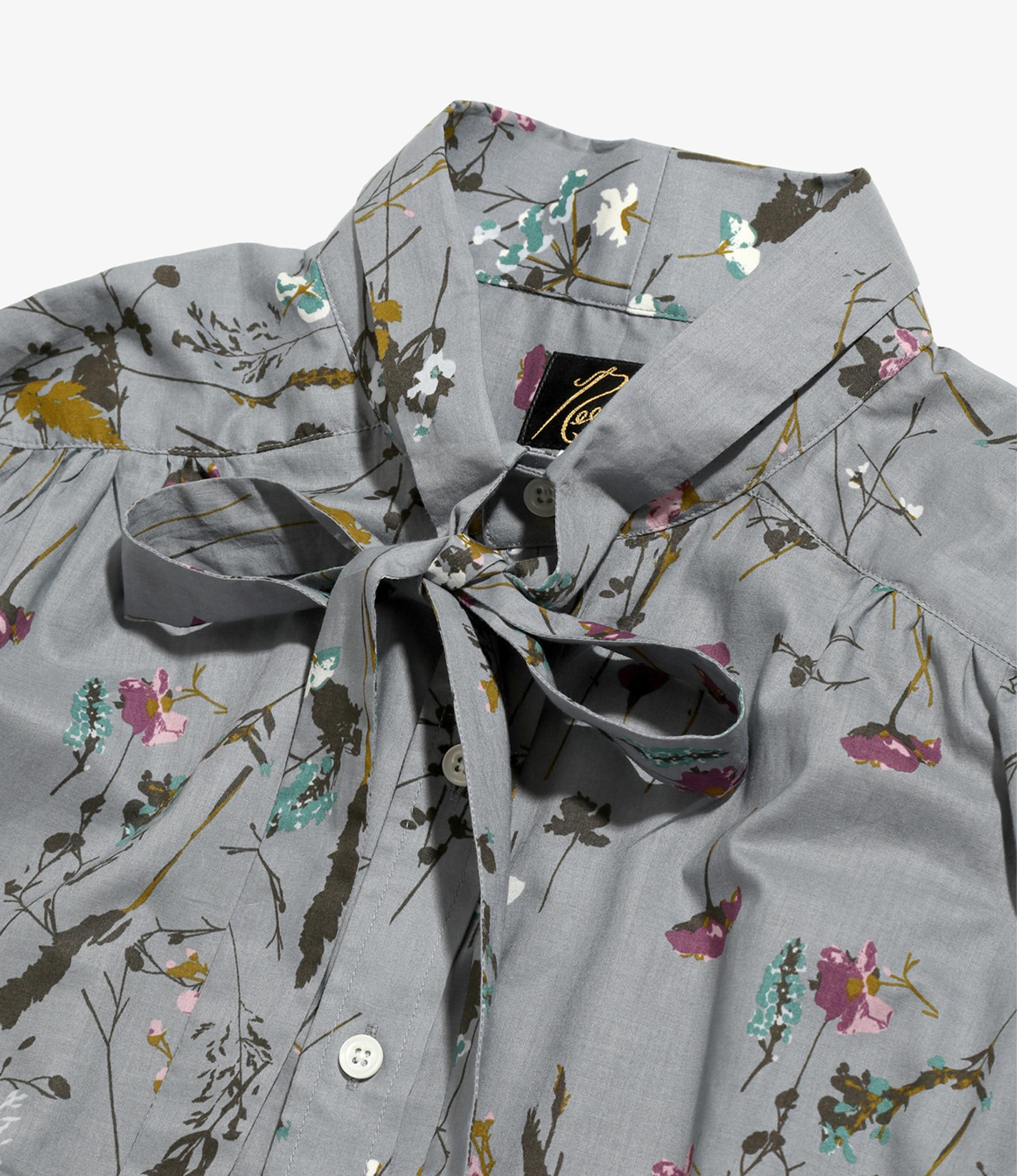 Needles Ascot Collar EDW Shirt - Flower Pt. - Grey