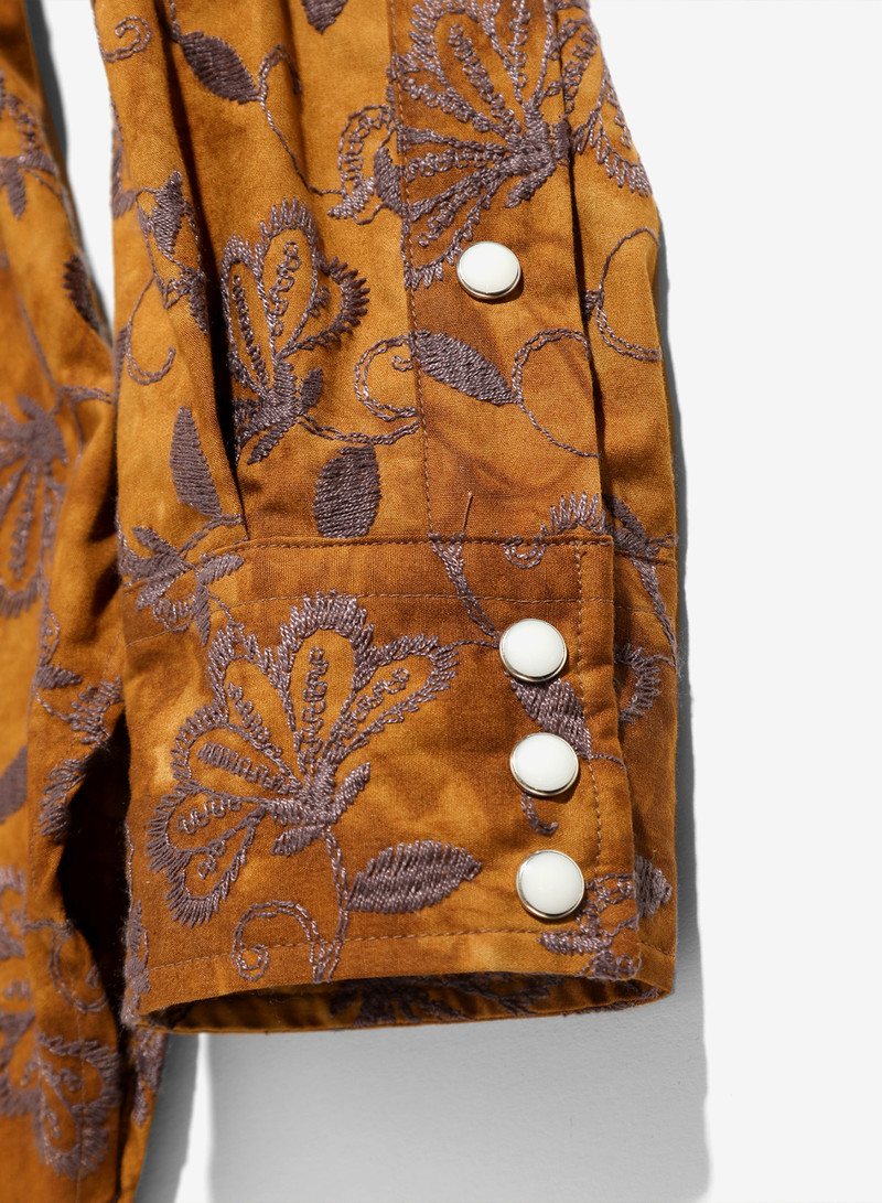 Needles B.R. Cowboy Shirt - Flower Emb. - Brown