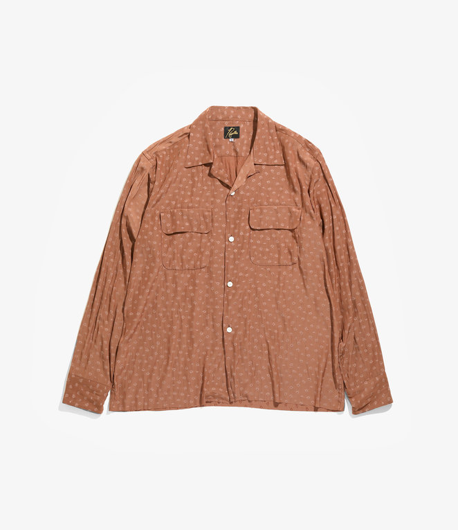 Needles C.O.B.  Classic Shirt - Floret Jacquard. - Brown