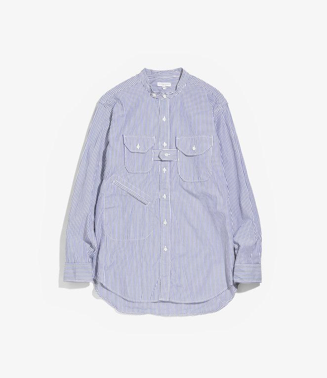 Engineered Garments Banded Collar Shirt - Blue/White Medium Stripe Broadcloth