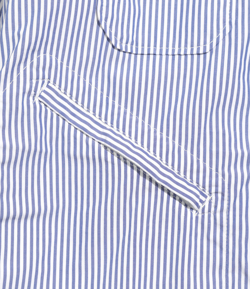 Engineered Garments Banded Collar Shirt - Blue/White Medium Stripe Broadcloth