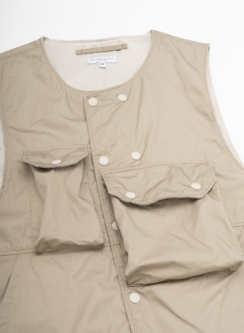 Engineered Garments Cover Vest - Khaki High Count Twill