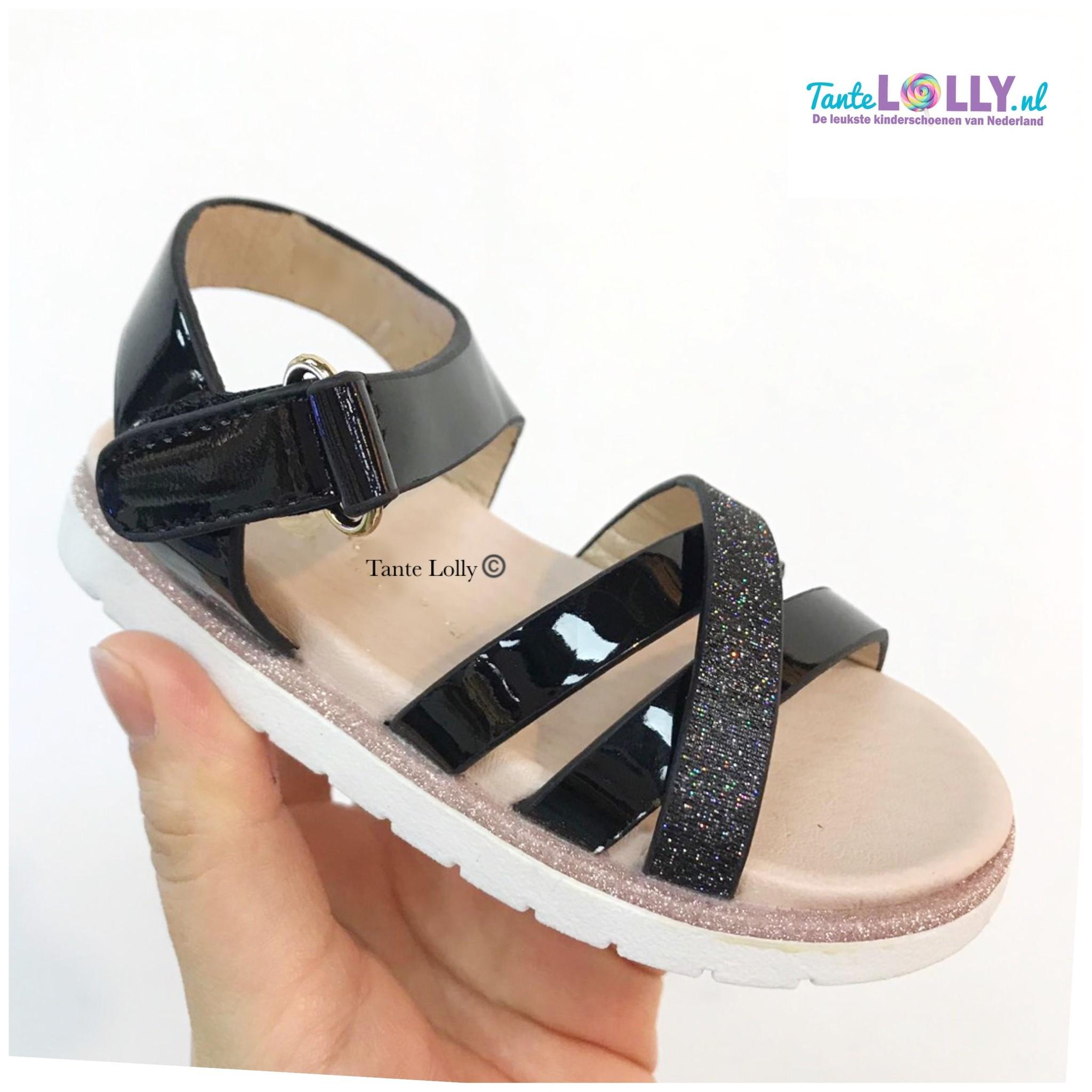 Kinderschoenen 19.Sandalen Fiona Zwart 19 36 Tante Lolly Kinderschoenen
