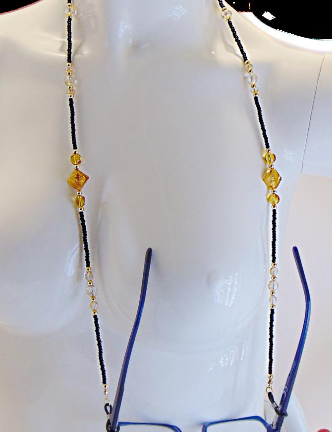 Venezia Classica Eyeglass Holder Necklace  (black, gold)