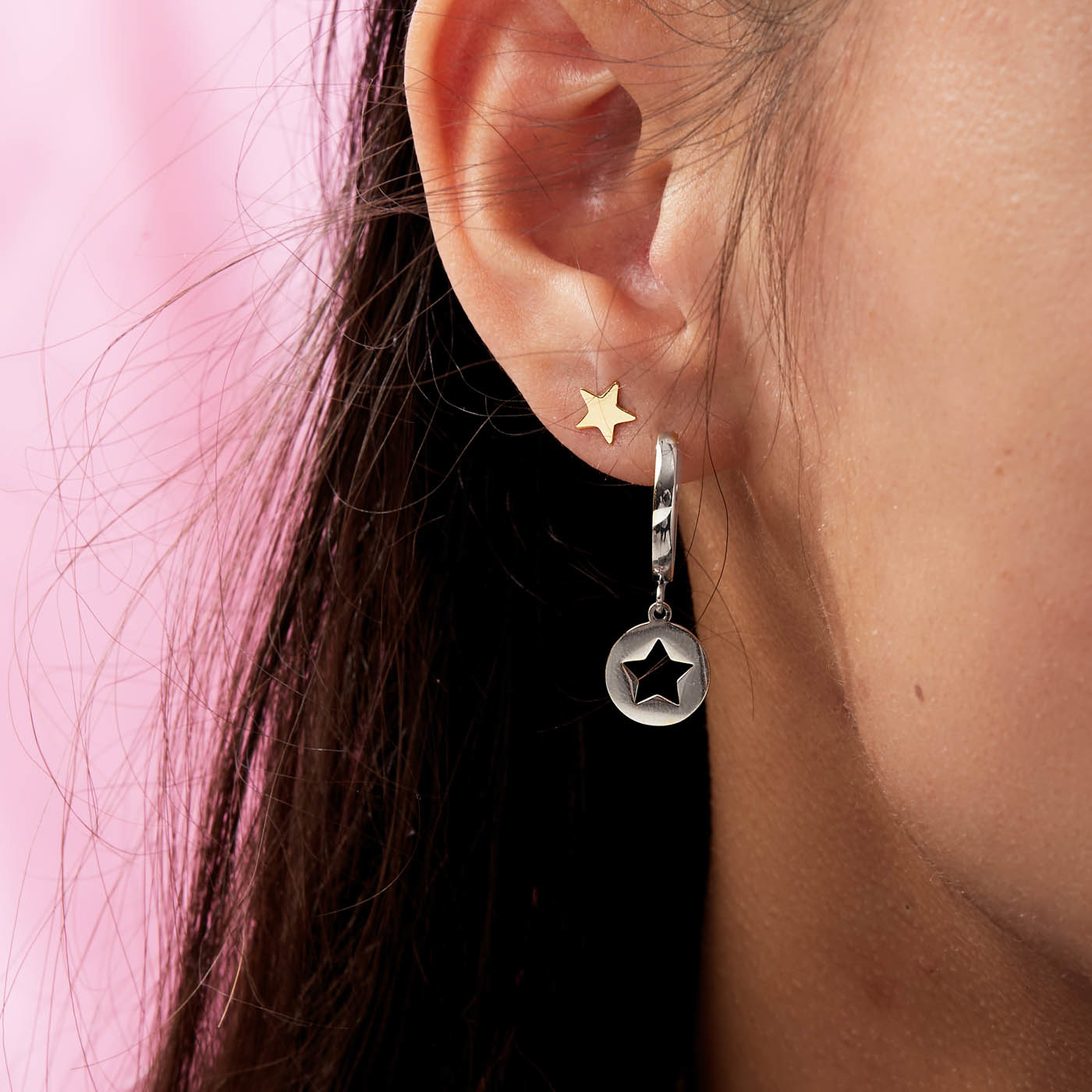May Sparkle Forever Young Star silver colored hoop earrings