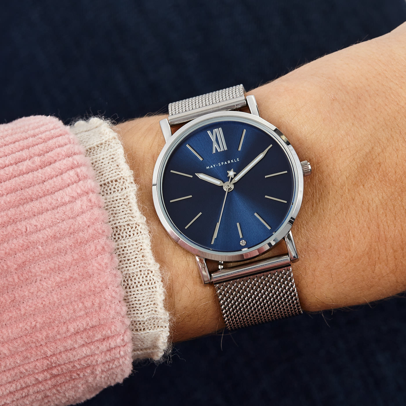 May Sparkle Midnight Sparkle ladies watch silver colored and blue
