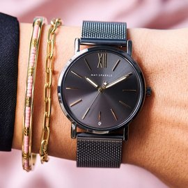 May Sparkle Midnight Sparkle ladies watch silver colored