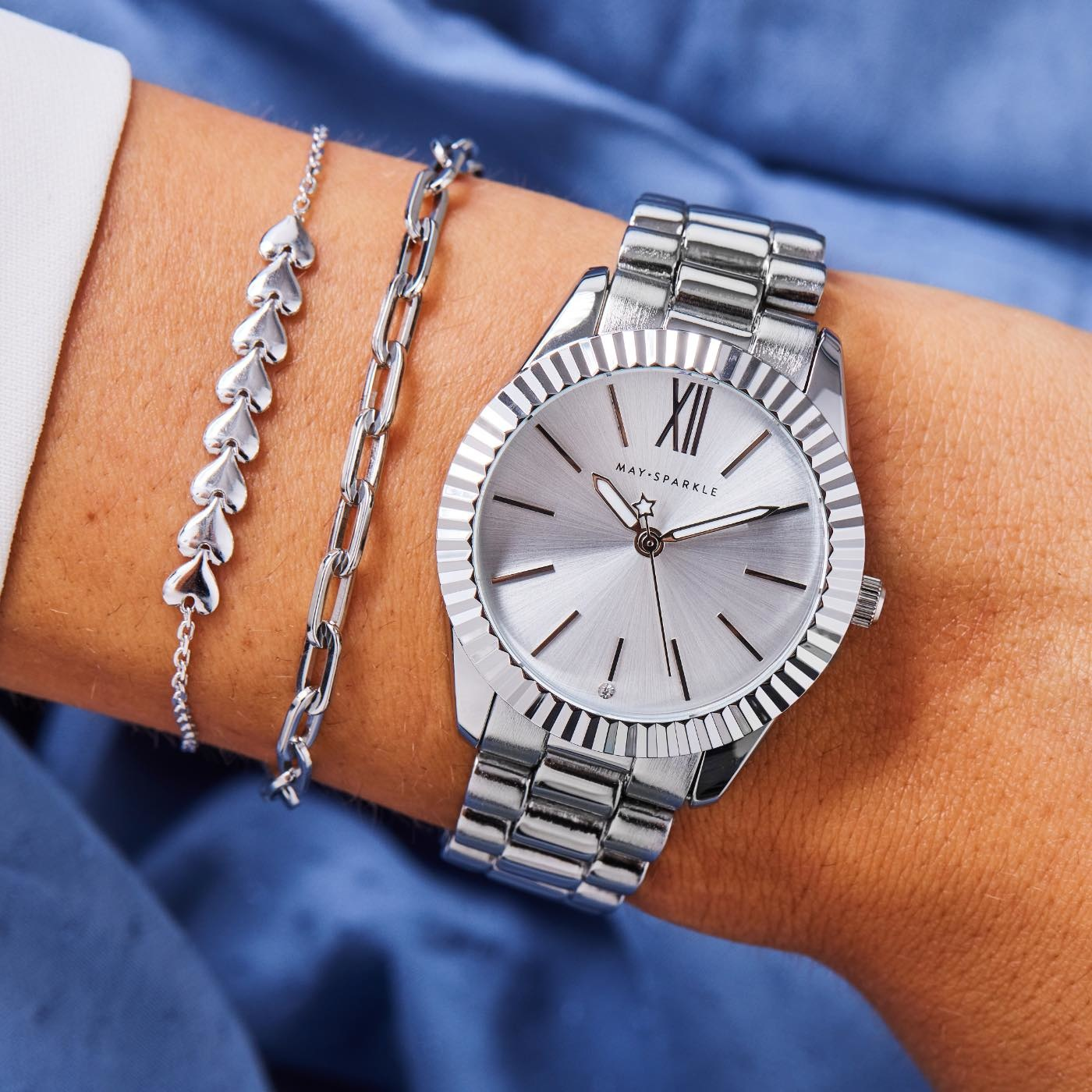 May Sparkle Luxurious Life ladies watch silver colored