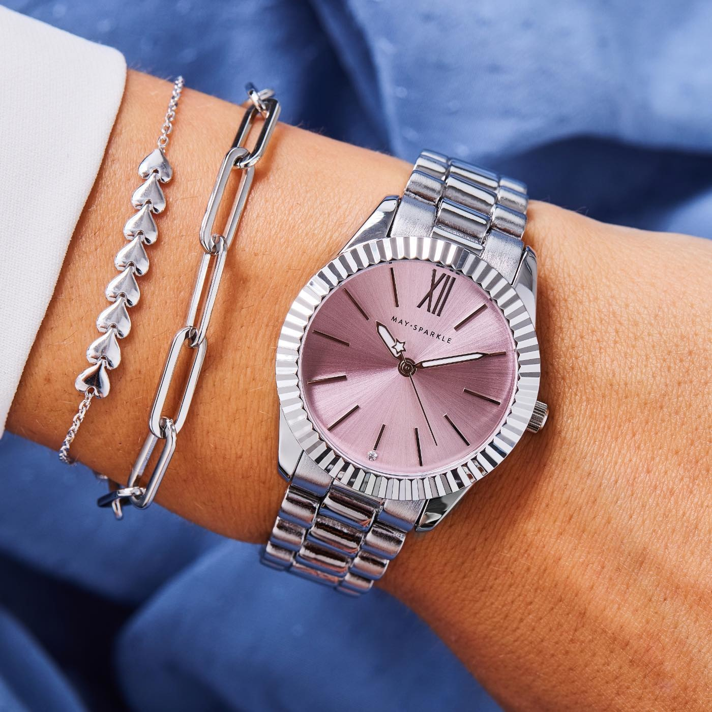 May Sparkle Luxurious Life Senna ladies watch silver colored / pink