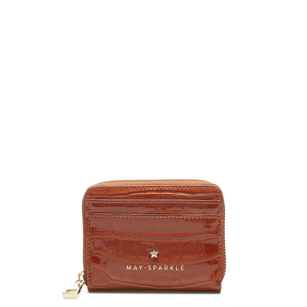May Sparkle Festive cognac croco zipper wallet