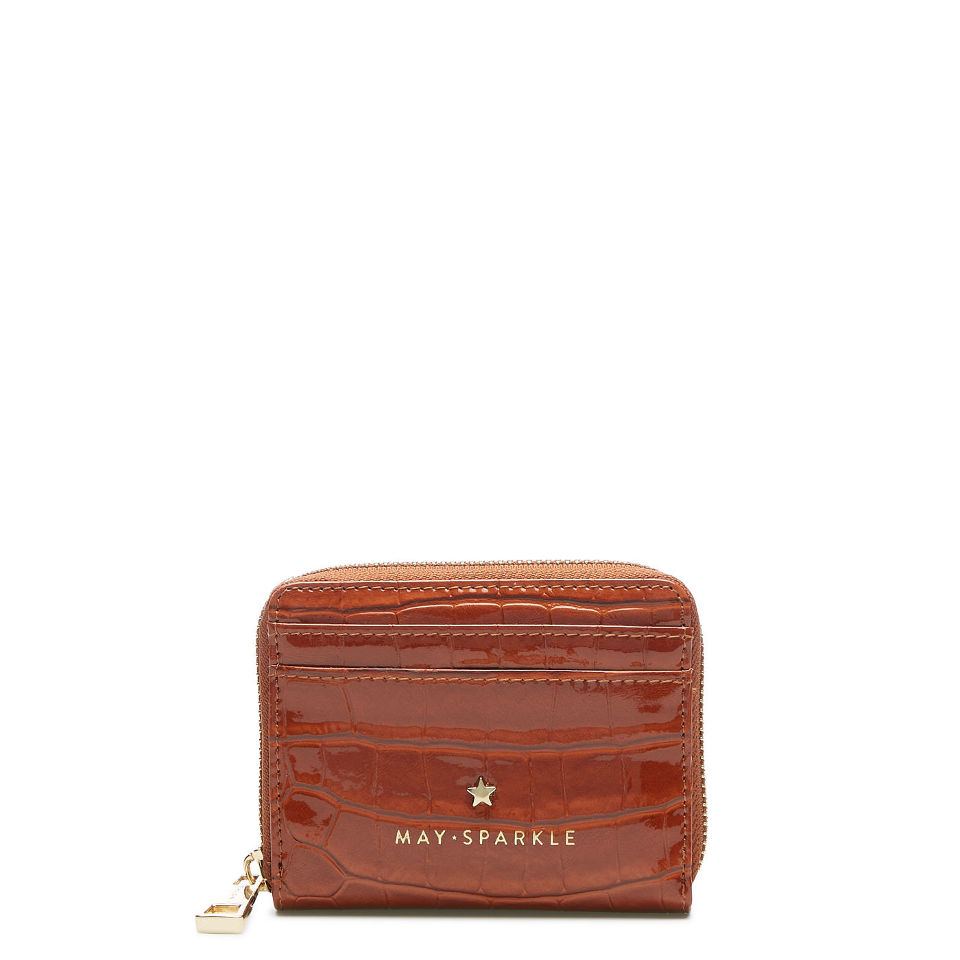 May Sparkle Festive cognac croco Zipper wallet