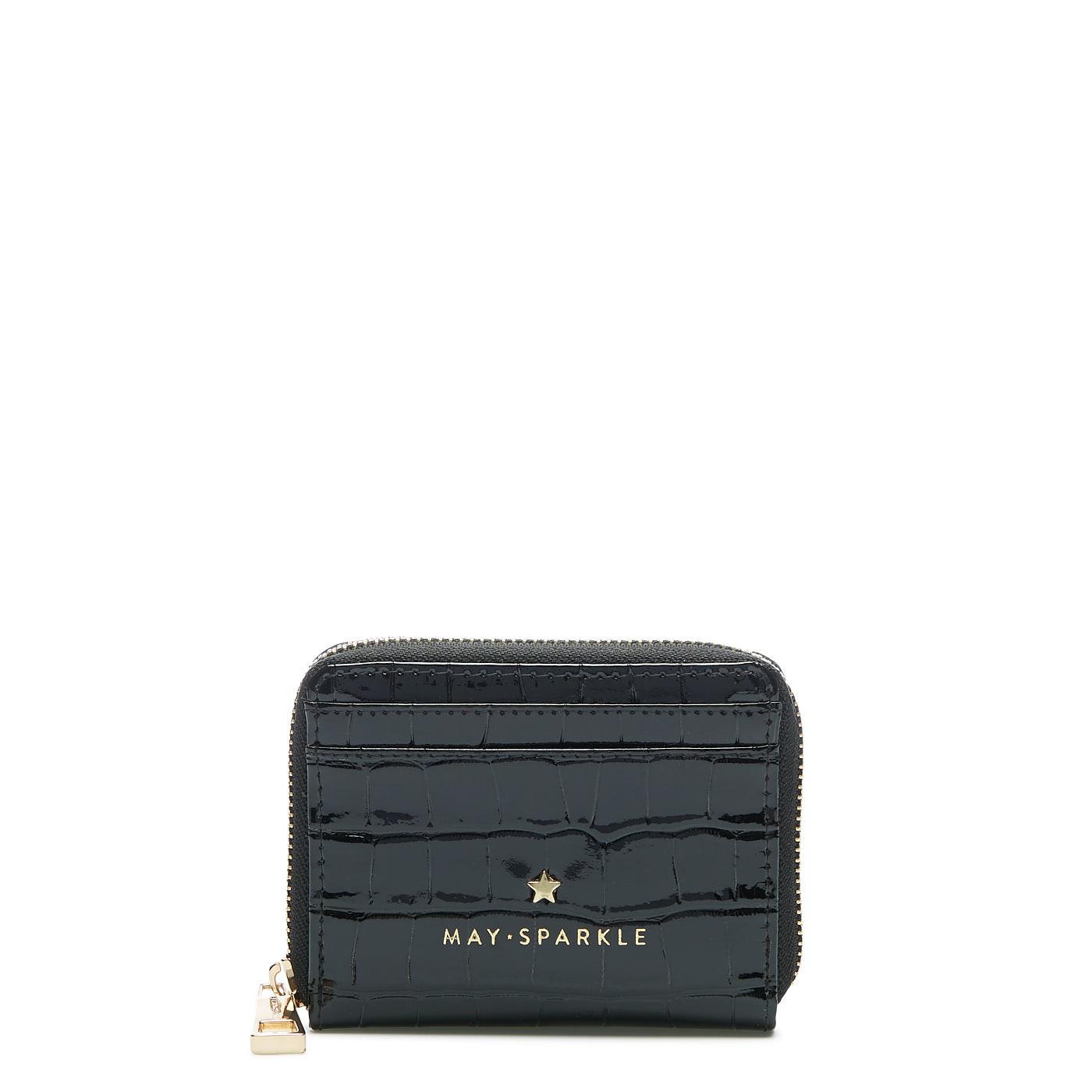May Sparkle Festive black croco Zipper wallet