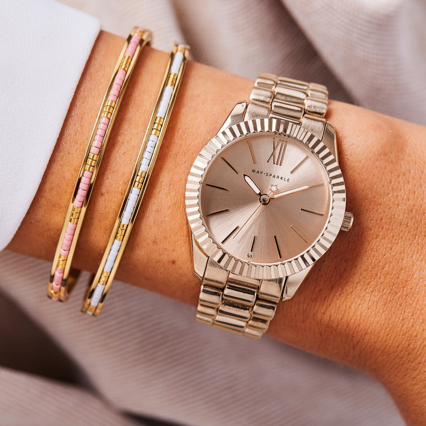 May Sparkle Luxurious Life ladies watch rose gold colored