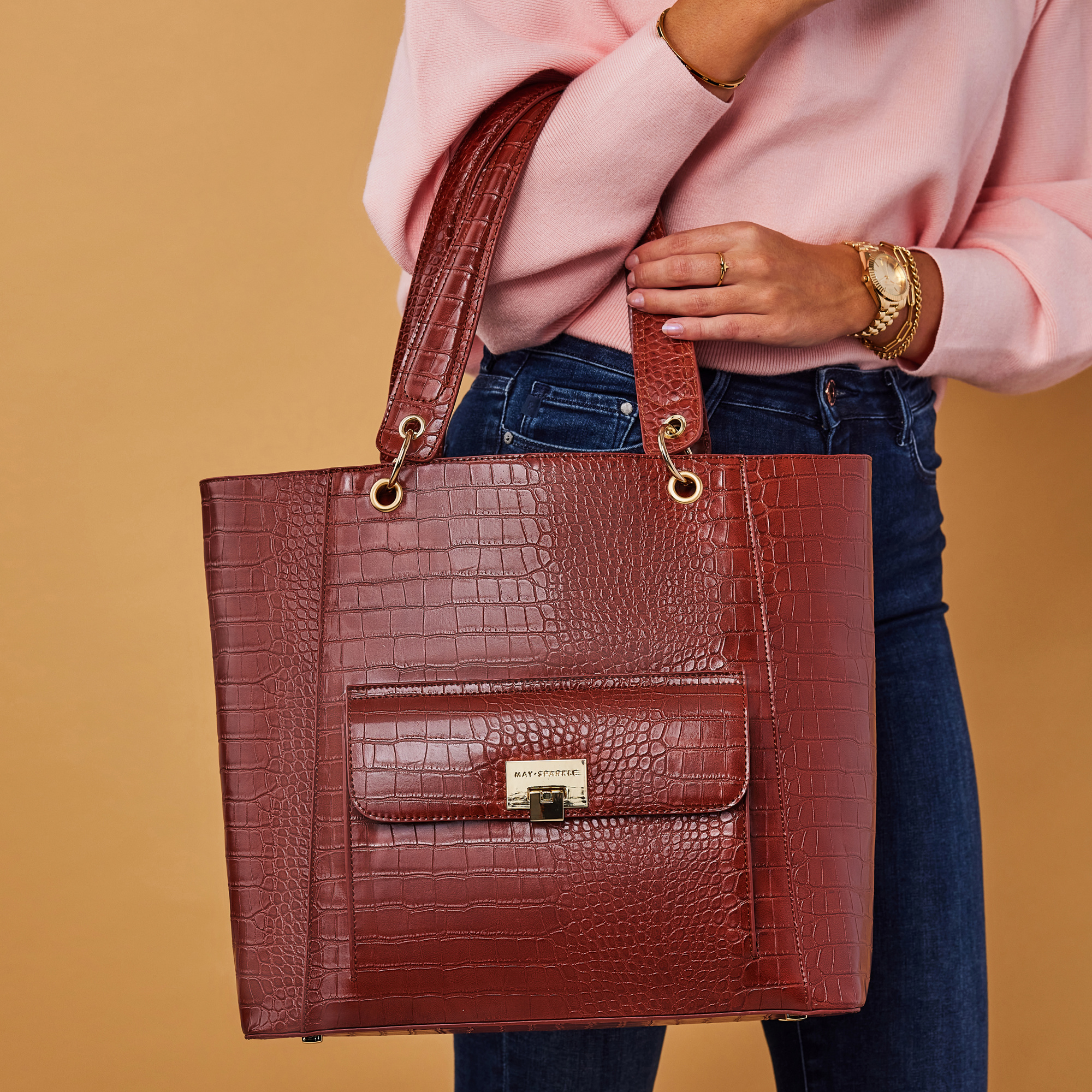 May Sparkle The Daily cognac croco shopper
