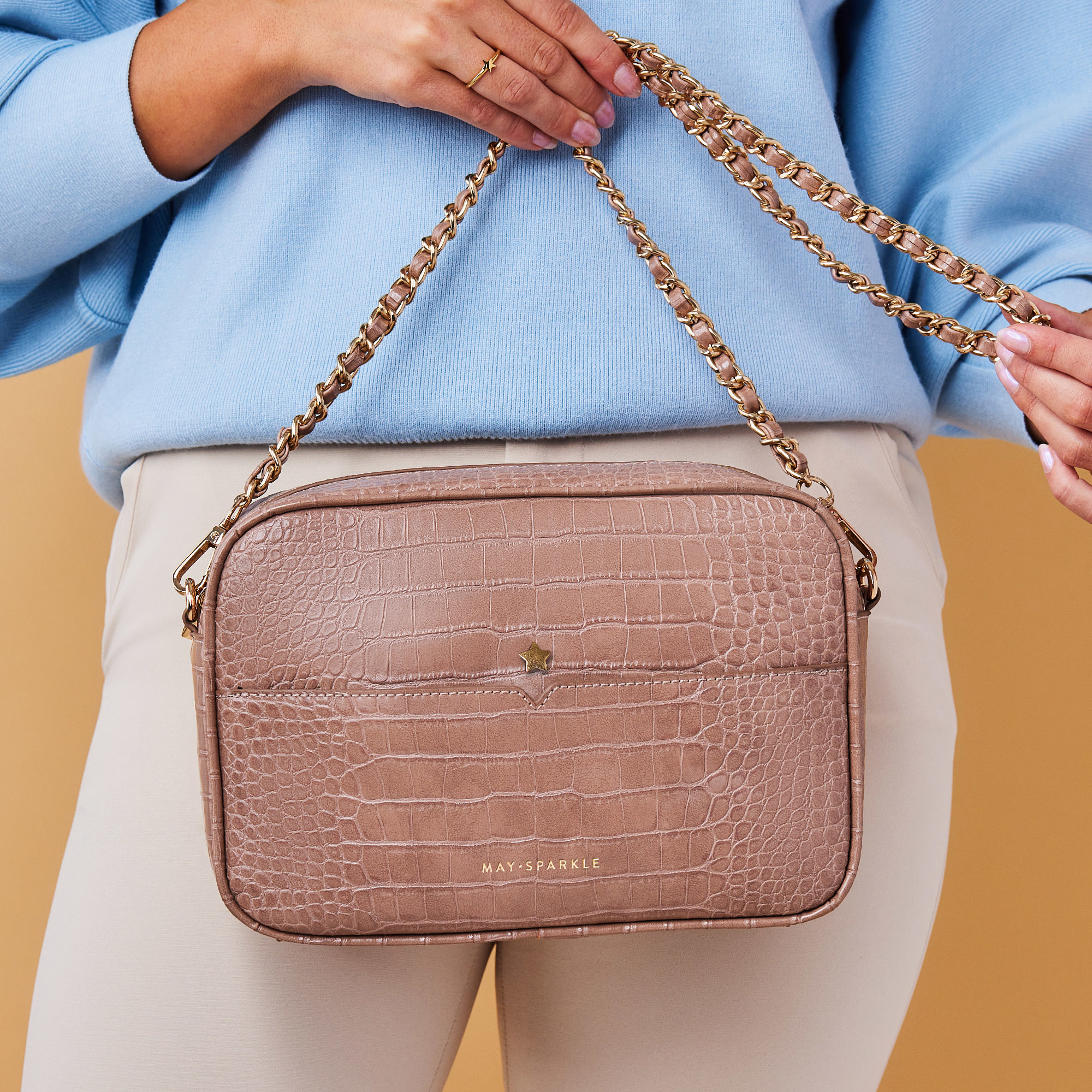May Sparkle Festive taupe croco crossbody