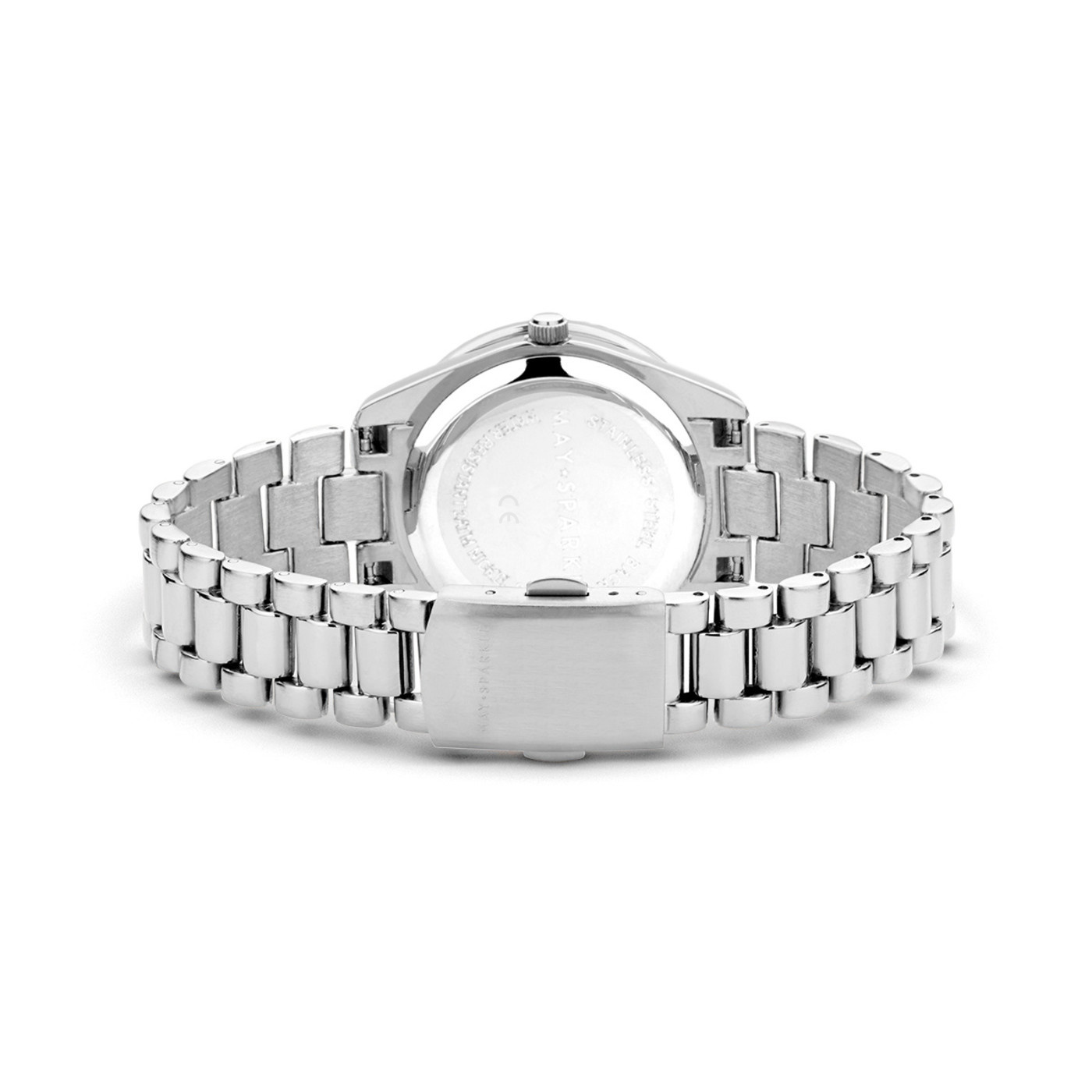 May Sparkle Luxurious Life ladies watch silver colored and pink