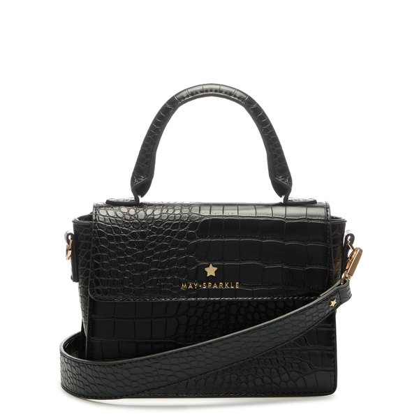 May Sparkle Festive black croco handbag