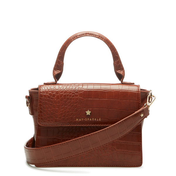 May Sparkle Festive cognac croco handbag