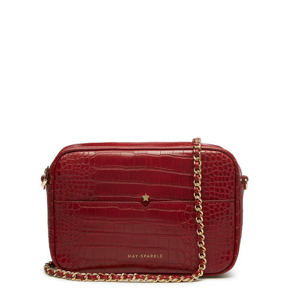 May Sparkle Festive rode croco crossbody tas