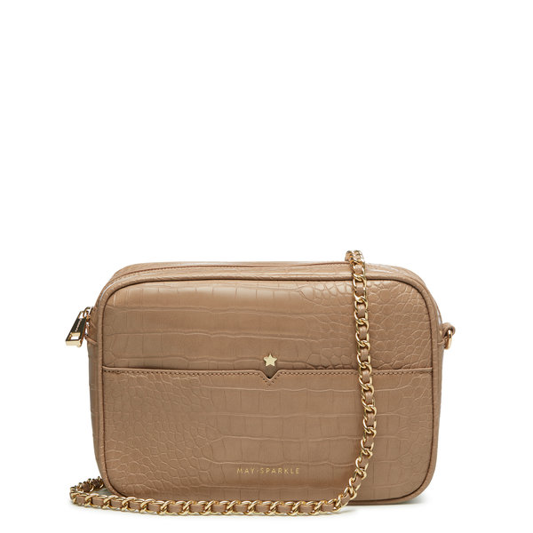 May Sparkle Festive taupe croco crossbody tas