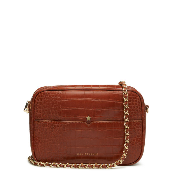 May Sparkle Festive cognac croco crossbody tas