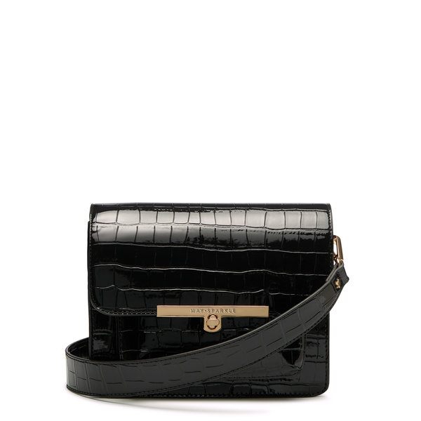 May Sparkle Festive zwarte croco crossbody tas
