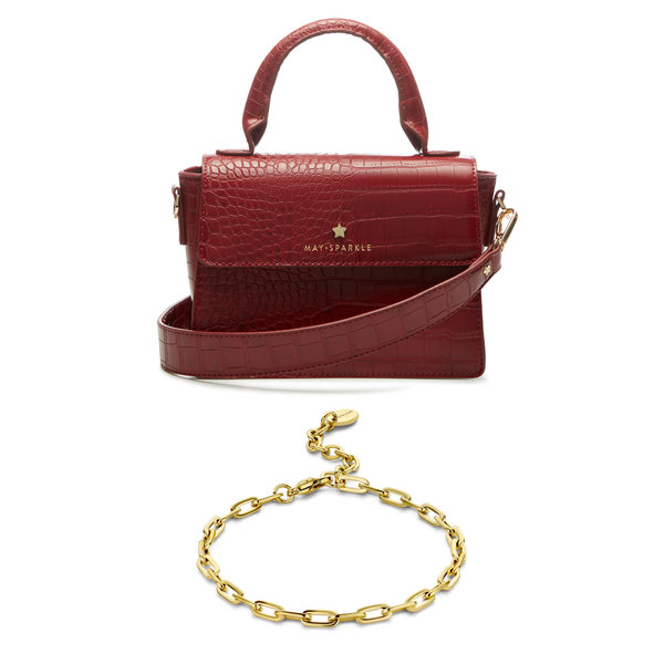 May Sparkle Sparkling Island red croco crossbody bag and gold colored bracelet gift set