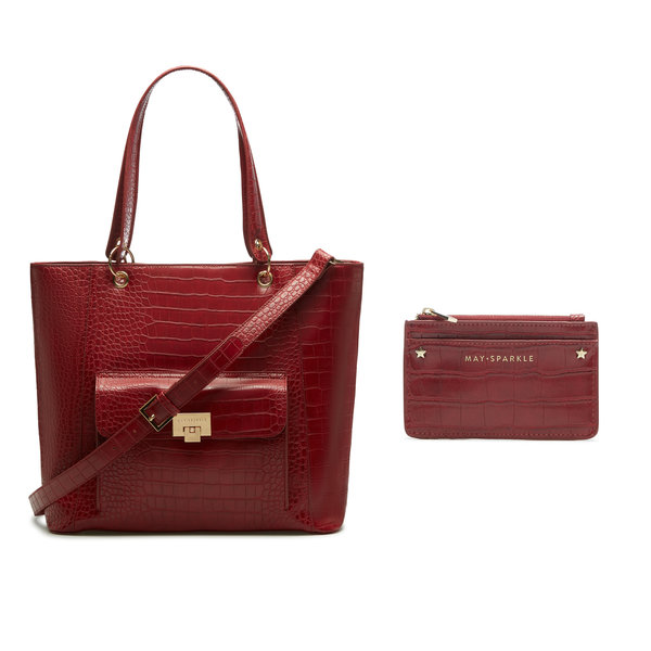 May Sparkle Sparkling Island red croco shopper and card holder gift set