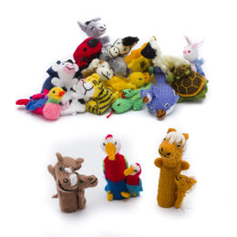 Finger puppets, mixed animals with young