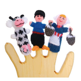 Finger puppets, milkmaid, farmer and cow