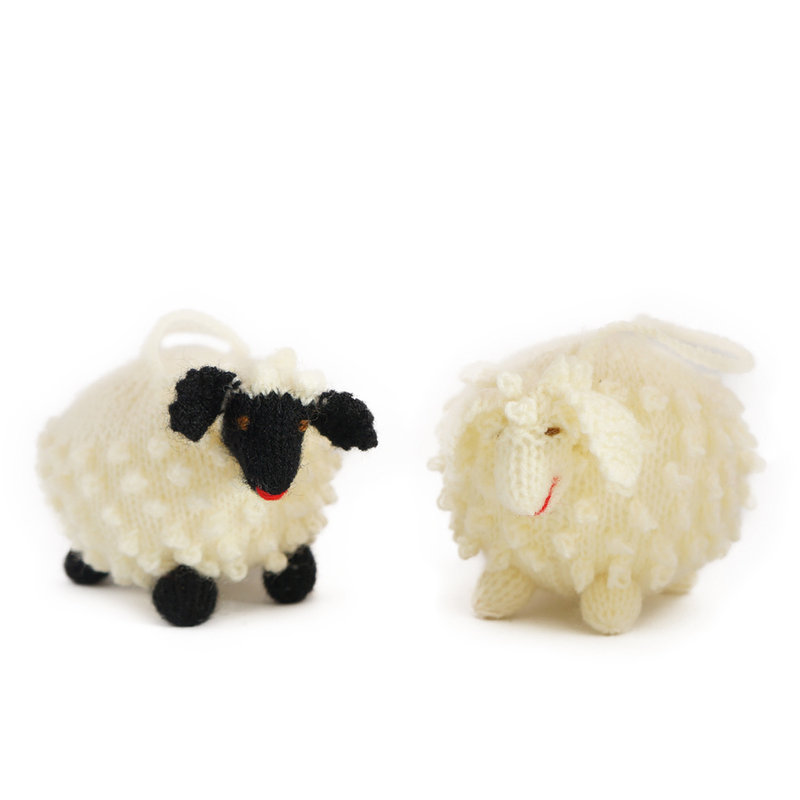 Hand knitted ball-puppet sheep, large