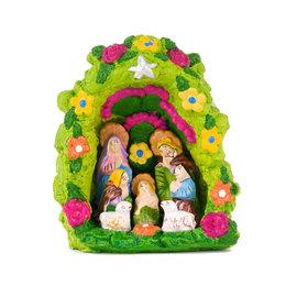 Nativity scene in stone niche, green