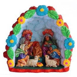 Nativity scene in stone niche, XL, red