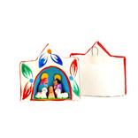 Kerststal hanger van papier maché, mini