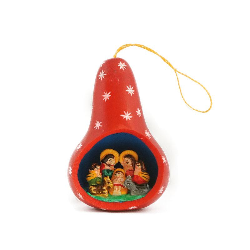 Nativity scene in calabash, red