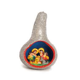 Nativity scene calabash, silver