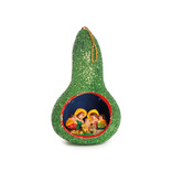 Nativity scene in glitter calabash, green