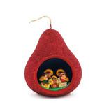 Nativity scene in glitter calabash, red