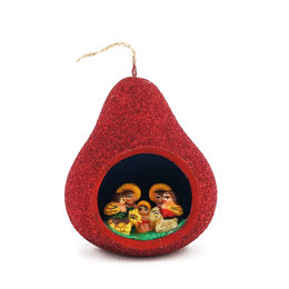 Nativity scene calabash, red